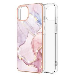 Rose Gold Dancing Electroplated Gold Frame 2.0 Thickness Plating Marble IMD Soft Back Cover for iPhone 13 Pro (6.1 inch)