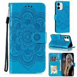 Intricate Embossing Datura Solar Leather Wallet Case for iPhone 13 Pro (6.1 inch) - Blue