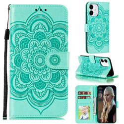 Intricate Embossing Datura Solar Leather Wallet Case for iPhone 13 Pro (6.1 inch) - Green