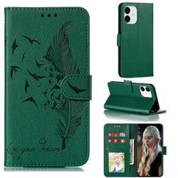Intricate Embossing Lychee Feather Bird Leather Wallet Case for iPhone 13 Pro (6.1 inch) - Green