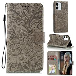 Intricate Embossing Lace Jasmine Flower Leather Wallet Case for iPhone 13 / 13 Pro (6.1 inch) - Gray
