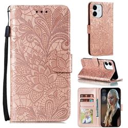 Intricate Embossing Lace Jasmine Flower Leather Wallet Case for iPhone 13 / 13 Pro (6.1 inch) - Rose Gold