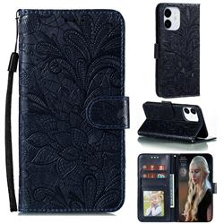 Intricate Embossing Lace Jasmine Flower Leather Wallet Case for iPhone 13 / 13 Pro (6.1 inch) - Dark Blue