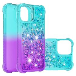 Rainbow Gradient Liquid Glitter Quicksand Sequins Phone Case for iPhone 13 Pro (6.1 inch) - Blue Purple