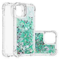 Dynamic Liquid Glitter Sand Quicksand TPU Case for iPhone 13 Pro (6.1 inch) - Green Love Heart