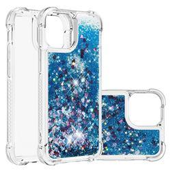 Dynamic Liquid Glitter Sand Quicksand TPU Case for iPhone 13 Pro (6.1 inch) - Blue Love Heart