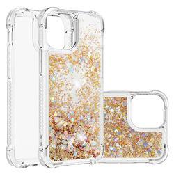Dynamic Liquid Glitter Sand Quicksand TPU Case for iPhone 13 Pro (6.1 inch) - Rose Gold Love Heart