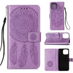 Embossing Dream Catcher Mandala Flower Leather Wallet Case for iPhone 13 Pro (6.1 inch) - Purple