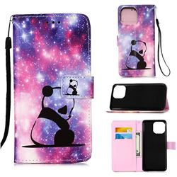 Panda Baby Matte Leather Wallet Phone Case for iPhone 13 Pro (6.1 inch)
