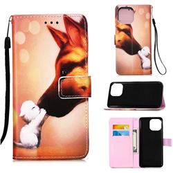 Hound Kiss Matte Leather Wallet Phone Case for iPhone 13 Pro (6.1 inch)