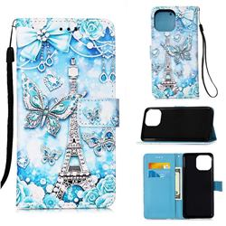 Tower Butterfly Matte Leather Wallet Phone Case for iPhone 13 Pro (6.1 inch)