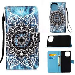 Underwater Mandala Matte Leather Wallet Phone Case for iPhone 13 Pro (6.1 inch)