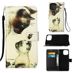 Cat Confrontation Matte Leather Wallet Phone Case for iPhone 13 Pro (6.1 inch)
