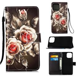 Black Rose Matte Leather Wallet Phone Case for iPhone 13 Pro (6.1 inch)