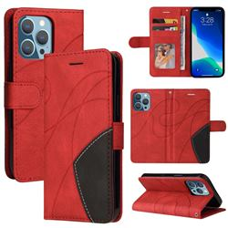 Luxury Two-color Stitching Leather Wallet Case Cover for iPhone 13 Pro (6.1 inch) - Red
