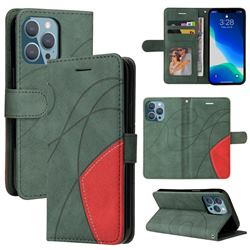 Luxury Two-color Stitching Leather Wallet Case Cover for iPhone 13 Pro (6.1 inch) - Green
