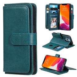 Multi-function Ten Card Slots and Photo Frame PU Leather Wallet Phone Case Cover for iPhone 13 Pro (6.1 inch) - Dark Green