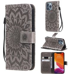 Embossing Sunflower Leather Wallet Case for iPhone 13 Pro (6.1 inch) - Gray
