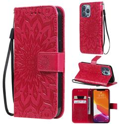 Embossing Sunflower Leather Wallet Case for iPhone 13 Pro (6.1 inch) - Red
