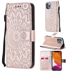 Embossing Sunflower Leather Wallet Case for iPhone 13 Pro (6.1 inch) - Rose Gold