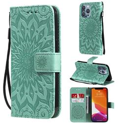 Embossing Sunflower Leather Wallet Case for iPhone 13 Pro (6.1 inch) - Green