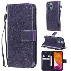 Embossing Sunflower Leather Wallet Case for iPhone 13 Pro (6.1 inch) - Purple