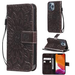 Embossing Sunflower Leather Wallet Case for iPhone 13 Pro (6.1 inch) - Brown