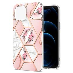 Pink Flower Marble Electroplating Protective Case Cover for iPhone 13 Pro (6.1 inch)