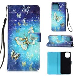Gold Butterfly 3D Painted Leather Wallet Case for iPhone 13 Pro (6.1 inch)