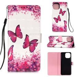 Rose Butterfly 3D Painted Leather Wallet Case for iPhone 13 Pro (6.1 inch)