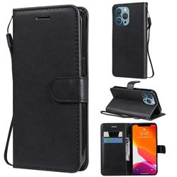 Retro Greek Classic Smooth PU Leather Wallet Phone Case for iPhone 13 Pro (6.1 inch) - Black