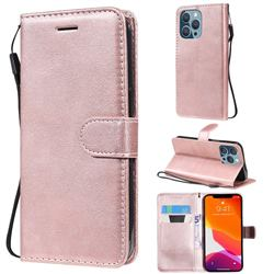 Retro Greek Classic Smooth PU Leather Wallet Phone Case for iPhone 13 Pro (6.1 inch) - Rose Gold