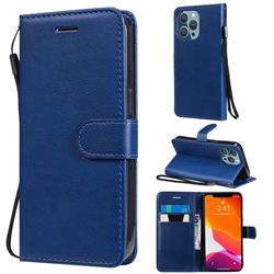 Retro Greek Classic Smooth PU Leather Wallet Phone Case for iPhone 13 Pro (6.1 inch) - Blue