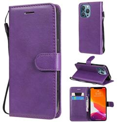 Retro Greek Classic Smooth PU Leather Wallet Phone Case for iPhone 13 Pro (6.1 inch) - Purple