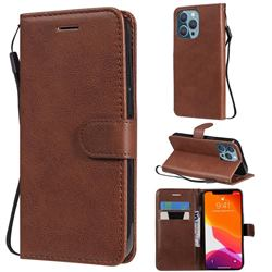 Retro Greek Classic Smooth PU Leather Wallet Phone Case for iPhone 13 Pro (6.1 inch) - Brown