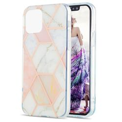Pink White Marble Pattern Galvanized Electroplating Protective Case Cover for iPhone 13 Pro Max (6.7 inch)