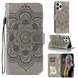 Intricate Embossing Datura Solar Leather Wallet Case for iPhone 13 Pro Max (6.7 inch) - Gray