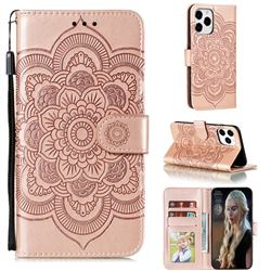Intricate Embossing Datura Solar Leather Wallet Case for iPhone 13 Pro Max (6.7 inch) - Rose Gold