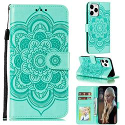 Intricate Embossing Datura Solar Leather Wallet Case for iPhone 13 Pro Max (6.7 inch) - Green