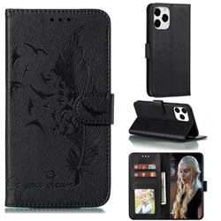 Intricate Embossing Lychee Feather Bird Leather Wallet Case for iPhone 13 Pro Max (6.7 inch) - Black