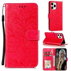 Intricate Embossing Lace Jasmine Flower Leather Wallet Case for iPhone 13 Pro Max (6.7 inch) - Red