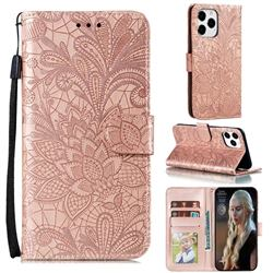 Intricate Embossing Lace Jasmine Flower Leather Wallet Case for iPhone 13 Pro Max (6.7 inch) - Rose Gold