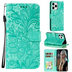 Intricate Embossing Lace Jasmine Flower Leather Wallet Case for iPhone 13 Pro Max (6.7 inch) - Green