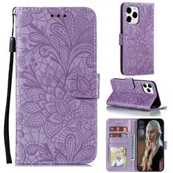 Intricate Embossing Lace Jasmine Flower Leather Wallet Case for iPhone 13 Pro Max (6.7 inch) - Purple
