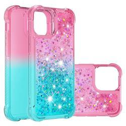 Rainbow Gradient Liquid Glitter Quicksand Sequins Phone Case for iPhone 13 Pro Max (6.7 inch) - Pink Blue