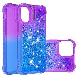 Rainbow Gradient Liquid Glitter Quicksand Sequins Phone Case for iPhone 13 Pro Max (6.7 inch) - Purple Blue