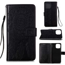 Embossing Dream Catcher Mandala Flower Leather Wallet Case for iPhone 13 Pro Max (6.7 inch) - Black