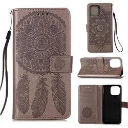 Embossing Dream Catcher Mandala Flower Leather Wallet Case for iPhone 13 Pro Max (6.7 inch) - Gray