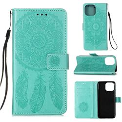 Embossing Dream Catcher Mandala Flower Leather Wallet Case for iPhone 13 Pro Max (6.7 inch) - Green