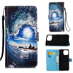 Waves and Sun Matte Leather Wallet Phone Case for iPhone 13 Pro Max (6.7 inch)